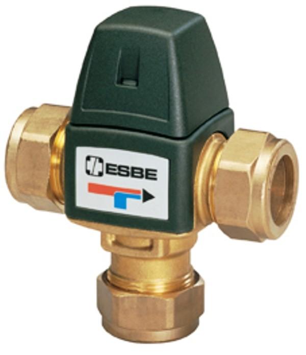 Brauchwassermischer, Mischer, Verbrühschutz, 35-60 Grad mit Klemmfitting 22mm, Serie VTA323