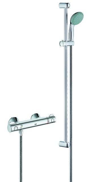 """Grohtherm 800, Brause Thermostat, Aufputz, 1/2"""", als Renovierungsset m. Brausegarnitur, chrom"""