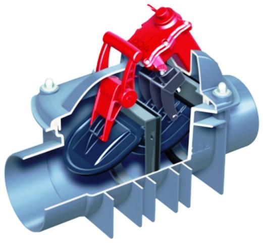 Rückstauklappe, Rückstauautomat, Quatrix-K, zum Einbau in freiliegende Abwasserleitung DN 125