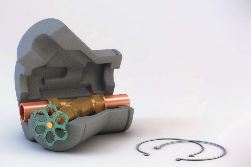 Ventilkappe, Ventilisolierung, Ventilkappen, DN 20, aus geschlossenzelligen, geschäumten und vernetzten Polyethylenschaum