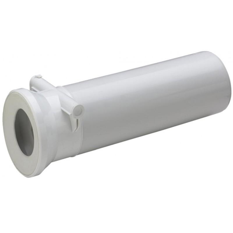 WC Anschlussrohr, DN 100, 400mm, mit intergrierter Rückstauklappe, weiss-alpin