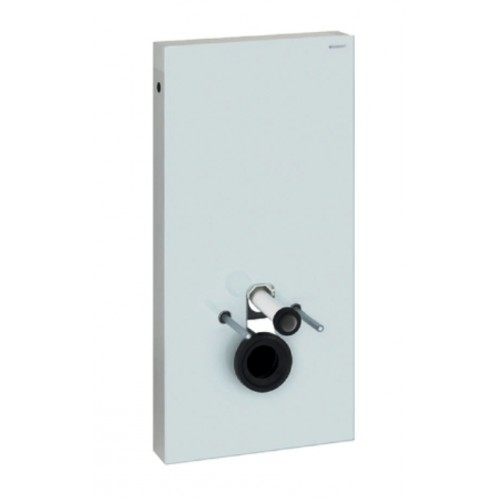 Sanitärmodul Monolith, für Wand-WC, 101cm, Glas weiss / Aluminium gebürstet, Art.131.022.SI.5