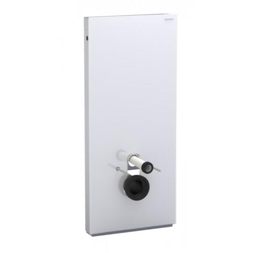 Monolith, Sanitärmodul für Wand-WC, 114cm, Glas weiss / Aluminium gebürstet, Art.131.031.SI.1