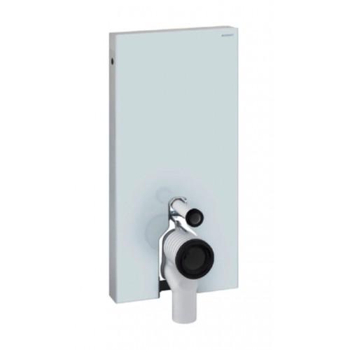 Monolith Sanitärmodul, für Stand-WC, 101 cm, Glas weiss / Aluminium, Art. 131.003.SI.1