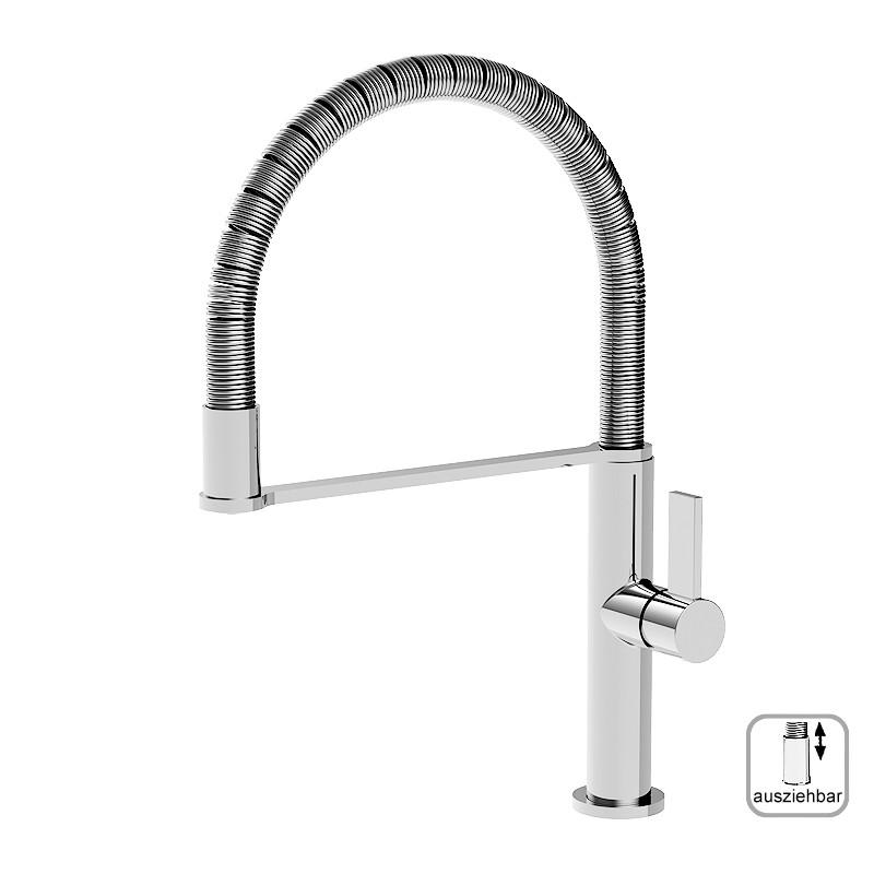 Küchenarmatur, Spülearmatur, ICO, hohem, schwenkbarem Spiralfeder-Auslauf, mit herausnehmbarer Spülbrause, S-Version