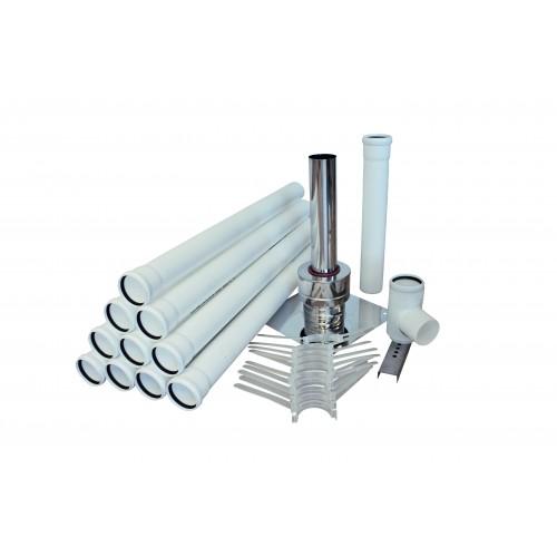 Abgasleitung SET, aus PP, DN 60, ca. 10 mtr. Schacht, für Öl-, und Gasbrennwert Heizanlagen, bis  120°C