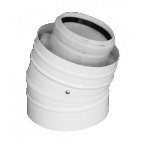 Abgasbogen LAS-W, DN 60/100, 15°, für raumluftunabhängigen Betrieb, für Öl- und Gasbrennwertkessel
