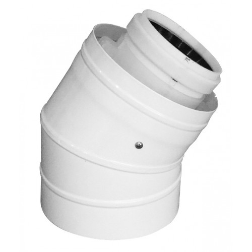 Abgasbogen LAS-W, DN 60/100, 30°, für raumluftunabhängigen Betrieb, für Öl- und Gasbrennwertkessel