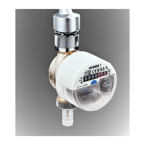 Zapfhahnzähler, Wasserzähler, KW zur Montage an Wasserhähne im Innenbereich, z.B. bei der Waschmaschine