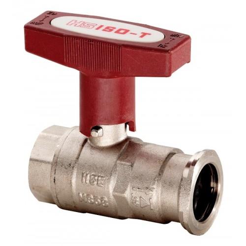 """Pumpenkugelhahn, Kugelhahn DN 25 - 1"""" mit Schwerkraftbremse u. verlängertem ISO-T Griff rot, o. Entleerung, voll isolierbar"""