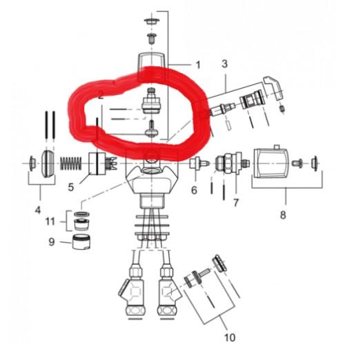 Oberteil komplett, M22x1, mit Ventilkegel und Mengengriff für Mora Term Bidet