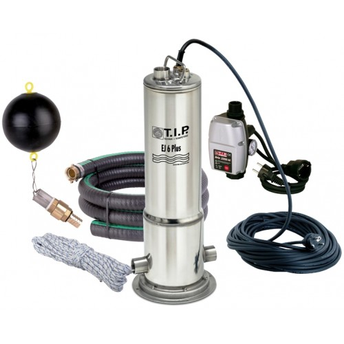 Zisternenpumpe EJ 6 Plus, inkl. schwimmender Ansaugung u. elektronischer Steuerung Edelstahlpumpe, Brunnenpumpe