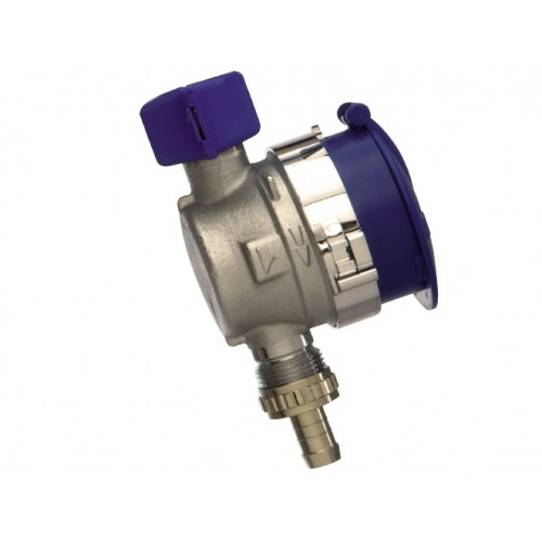 Wasserzähler, für Aussenzapfstellen, Aussenwandarmatur, mit aufklappbarem Schutzdeckel Kunststoff, dunkelblau