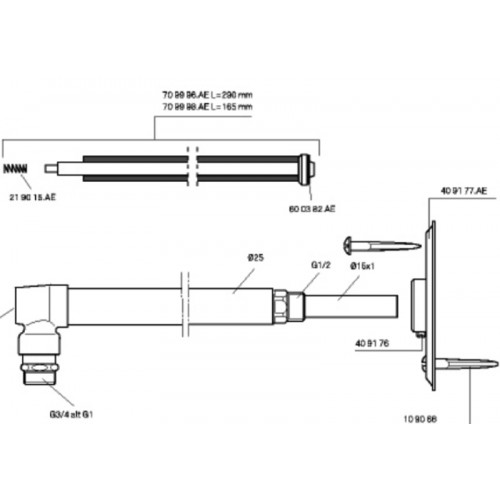 Spindel, Ersatzspindel für Mora Garden I, (Vorgängermodell, Aussenzapfstelle, Länge 280 mm Gesamtlänge ca. 335 mm