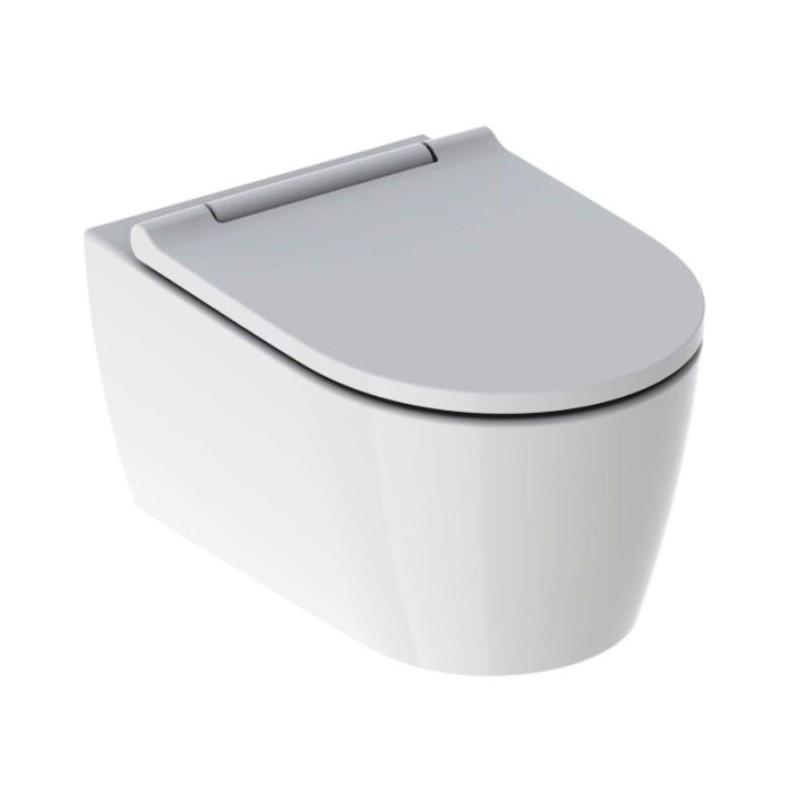 GE ONE Wand-WC mit WC-Sitz NEU, KeraTec, weiß / weiß (lieferbar ab ca. 04.2019)