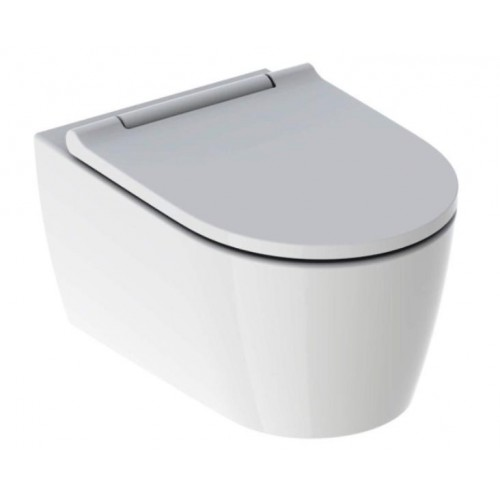 GE ONE Wand-WC mit WC-Sitz NEU, KeraTec, weiß / hochglanz verchromt (lieferbar ab ca. 04.2019)