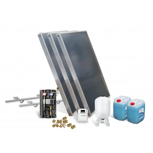 Solar Kollektor Paket mit 3 Kollektoren zur Unterstützung Warmwasserbereitung, Fußbodenheizung und Schwimmbaderwärmung.
