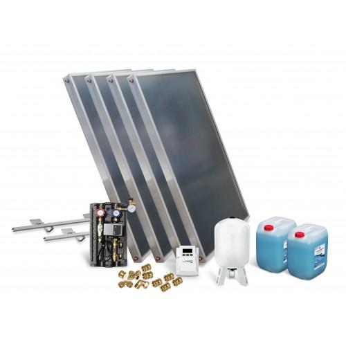Solar Kollektor Paket mit 4 Kollektoren zur Unterstützung Warmwasserbereitung, Fußbodenheizung und Schwimmbaderwärmung.