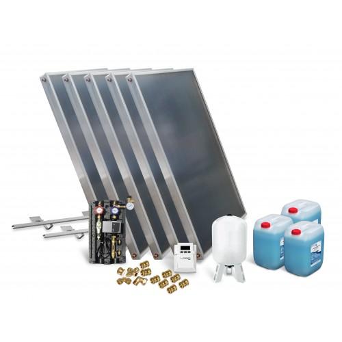 Solar Kollektor Paket mit 5 Kollektoren zur Unterstützung Warmwasserbereitung, Fußbodenheizung und Schwimmbaderwärmung.