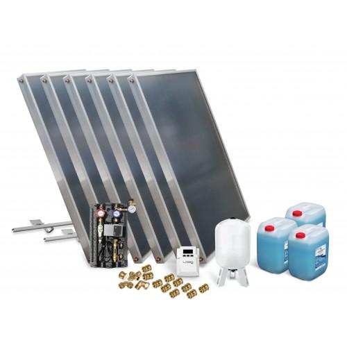 Solar Kollektor Paket mit 6 Kollektoren zur Unterstützung Warmwasserbereitung, Fußbodenheizung und Schwimmbaderwärmung