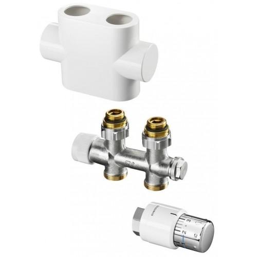 """Oventrop Anschlussarmaturset """"Multiblock T"""" Eckform optional mit Abdeckung und Thermostatkopf"""