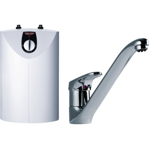 Speicher, Warmwasserspeicher, SNU 5 SL, antitropf comfort, weiss mit Einhebel - Spültischarmatur