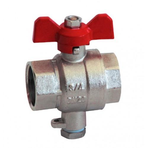 Kugelhahn, mit Temperaturfühleraufnahme M10x1, für Fühlerdirekteinbau (Vorlauffühler)