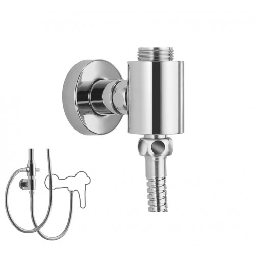 Adapter, zur Verbindung und Fixierung von Brauseaufsatz-Kombinationen, chrom