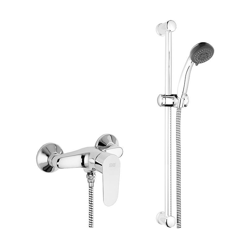 Brausearmatur, Duscharmatur, Einhandmischer, GEO, mit Brausegarnitur 1150 mm, als SET